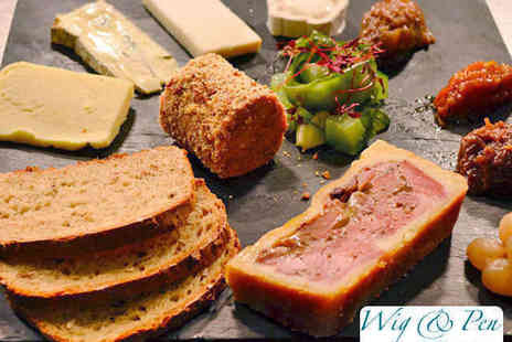 The Wig & Pen - Ploughmans Sharing Platter and Bottle of Wine to Share for Two  with Two Platters and Two Bottles of Wine  - Save 58%