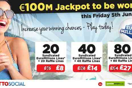 Lotto Social - Tickets to 20 EuroMillions  - Save 47%