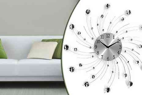 Qfonic Technology Distribution Network - XL Diamante Wall Clock - Save 35%