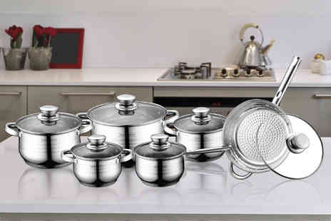 Click and Shop -  12 piece Royalty Line stainless steel cookware set  - Save 78%