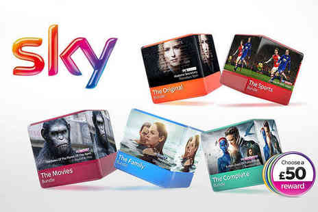 Sky TV -  12 Months of Sky TV and £50 Reward - Save 0%