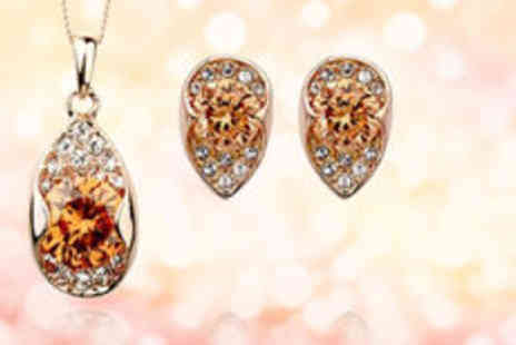 Gevani - 18K rose gold plated zircon jewellery set  plus delivery - Save 0%
