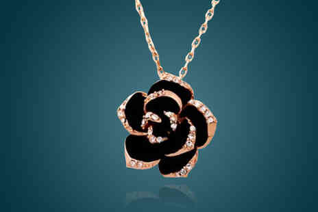 Crystal Crush - Gold Plated Rose Necklace - Save 88%