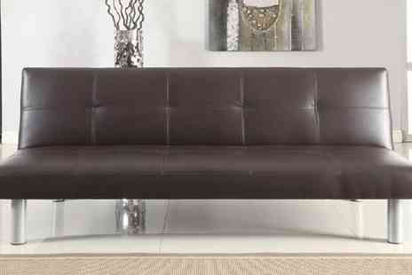 Euro Carpet Warehouse - Brown Faux Leather Sofa Bed - Save 66%