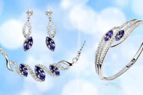 Gevani - Silver plated crystal jewellery set  plus delivery - Save 0%