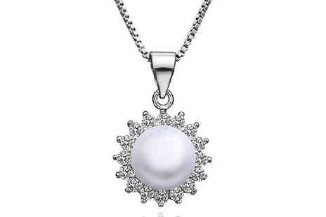 Simply Jewellery - Sun Ray Pearl Pendant Necklace - Save 84%