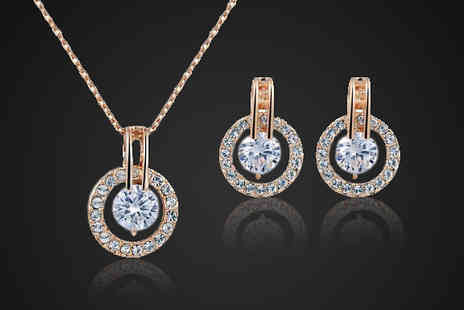 Crystal Crush - Rose Gold Plated Crystal Necklace Set - Save 83%