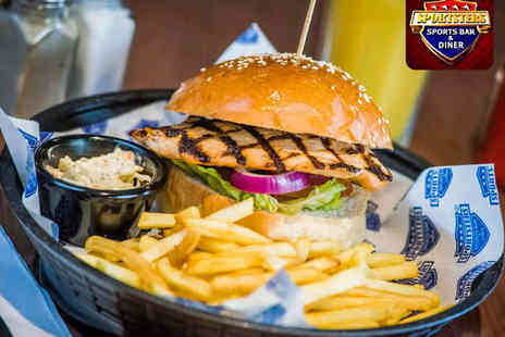 Sportsters Sports Bar & Diner - Burger, Unlimited Chips, and Soft Drink Each for Two  - Save 58%