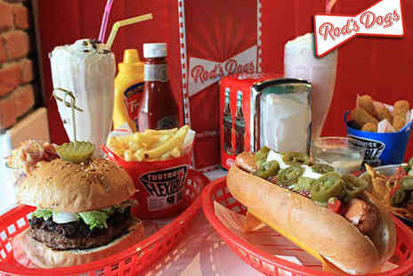 Rods Dogs - Hot Dog or Any Burger or Sandwich, Side, and Milkshake or Soft Drink Each for Two   - Save 53%