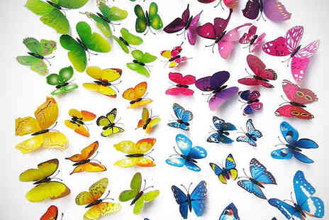 iThinkGadgets  - 24 Pieces Butterfly Wall Decal  - Save 71%