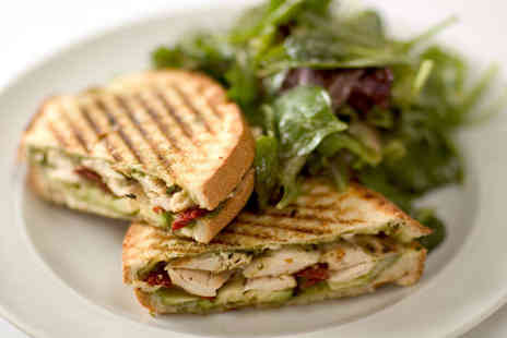 Mojo Coffee House -  Sandwich or Panini, Cake, and Hot Drink for Two  - Save 57%
