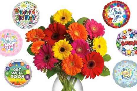 Flowers Delivery 4 U - Bouquet of 12 Mixed Gerberas With Celebration Balloon - Save 57%