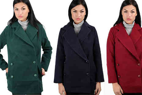 Just Fiver - Boyfriend Style Collar Coat - Save 47%