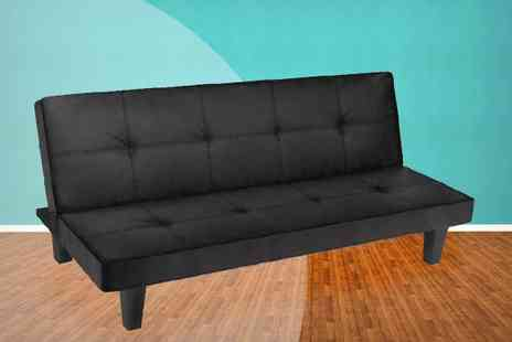 Brown Source  - Black Faux Leather Sofa Bed - Save 0%