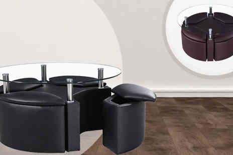 Panoply Furnishings - Dakota Coffee Table with 4 Ottoman Storage Stools - Save 31%