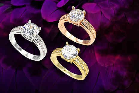 Bijou Amour - Solitaire ring made with Swarovski Elements - Save 82%