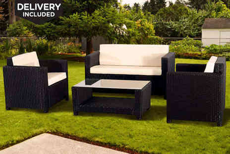 Stylish Rattan Seating - Outdoor Rattan Furniture Set in Black, Delivery Included - Save 64%