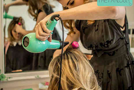 The Parlour - Bombshell Blowout Blow Dry  Vintage Updo, or Half Head Highlights with Blow Dry, Treatment, and Head Massage  - Save 53%