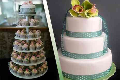 Vanilla Nova - 100 wedding cupcakes on a tiered stand - Save 53%