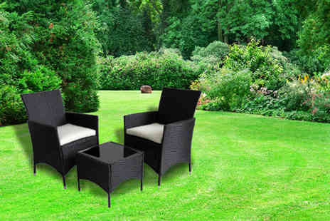 3pc Venice Rattan - Three piece Venice rattan garden table and chairs set  - Save 0%