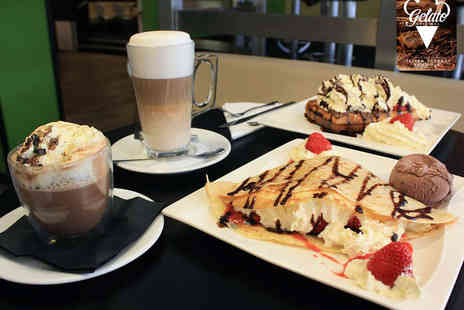Gelato Original - Any Italian Crepe or Waffle with Gelato and Hot Drink Each for Two  - Save 50%