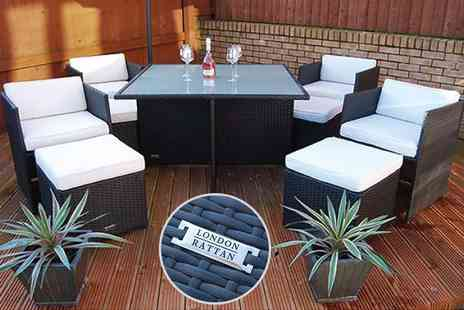 D1 Design & Creative  - Nine piece stylish rattan cube dining patio set - Save 59%