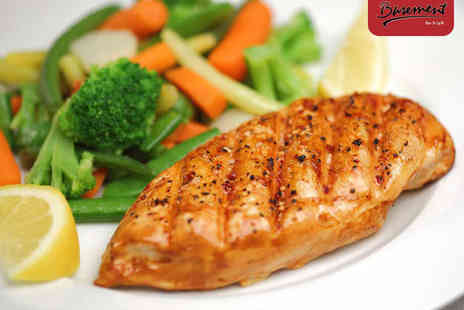 Basement Bar & Grill - Main Course and Glass of Wine Each for Two  - Save 46%
