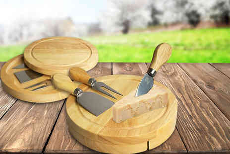 Treasure Chest Innovations - Pro Chef two tier swivel cheeseboard and three utensils - Save 76%
