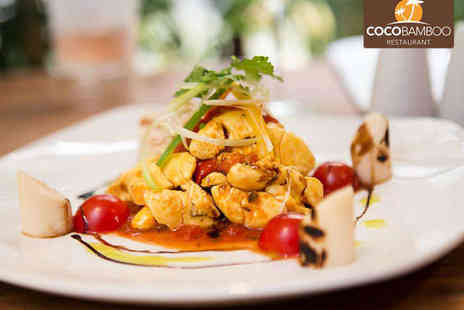Coco Bamboo - Main Course with Starter or Dessert for Two  with a Glass of Sparkling Wine Each - Save 64%