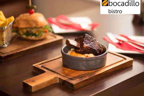 Bocadillo - Tapas Meal for Two or Four People with Dessert and Glass of Wine Each - Save 58%