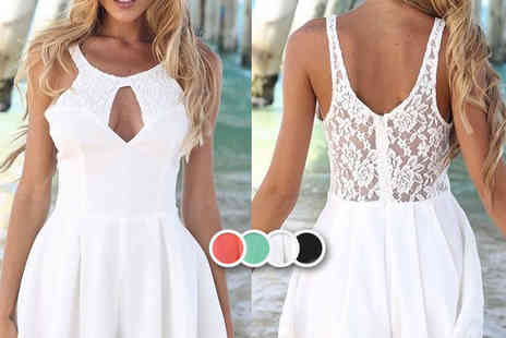 LOVE TTI - Stylish summer lace chiffon playsuit   - Save 73%
