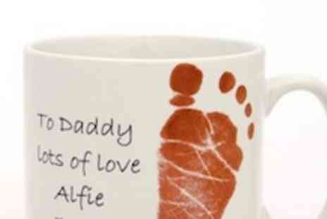 Eternal Impressions - Own personalised mug with your babys footprint/handprint and personalised message - Save 53%