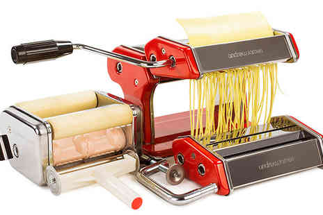 Andrew James - Andrew James Italiano Pasta Maker in Red and Silver - Save 60%