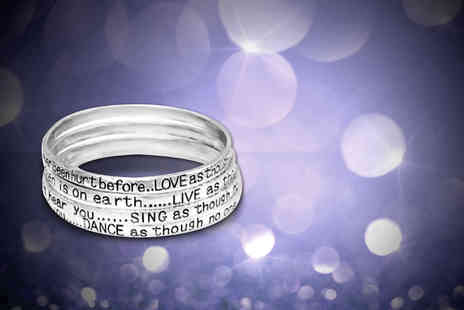 Simply 18K - Set of four poetry bangles with a love, live, sing or dance quote engraved on each - Save 85%