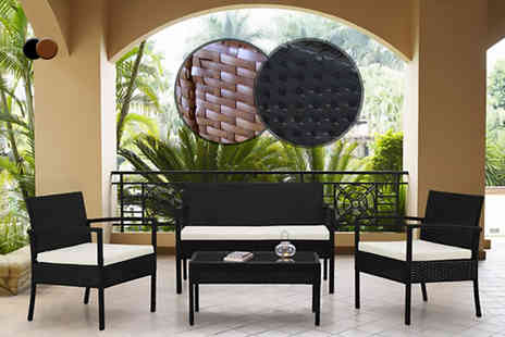 Rattan Garden - Four piece rattan garden furniture set including a sofa, two matching chairs with cushions and a coffee table - Save 0%