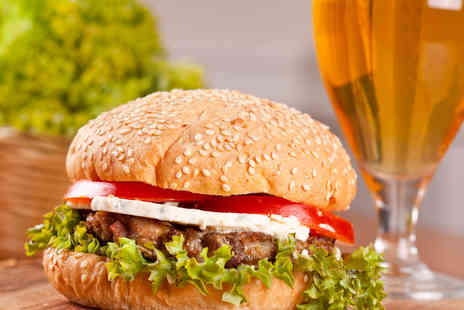 The Space  -  100% British Beef Burger with Fries and Beer for Two - Save 69%
