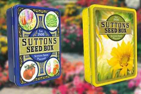 Suttons Seeds - Suttons Seeds Retro Tin With Seed Collection and £5 Gift Voucher With Free Delivery  - Save 71%