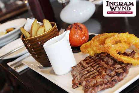 Ingram Wynd - Rib Eye Steak Meal for Two with Bottle of Wine - Save 52%