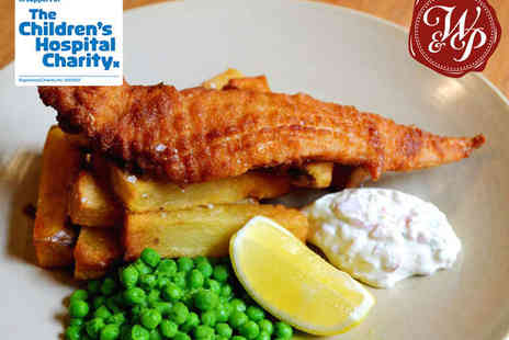 The Wig & Pen - Gourmet Fish and Chips with Minted Peas, Tartare Sauce, and Glass of Wine Each for Two  - Save 65%