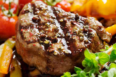 Double Barrel Real Steakhouse and Grill - 12oz or 16oz Hot Stone Rump Steak Meal and Tea or Coffee for Two - Save 44%