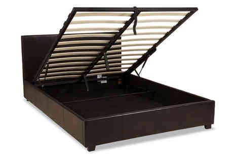 One Holding - Prado Gas Lift Storage Faux Leather Bed Frame Plus Optional Mattress - Save 67%