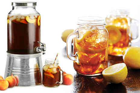 Hungry Bazaar - 4L Vintage Style Drink Dispenser and 4 Mason Jars - Save 63%