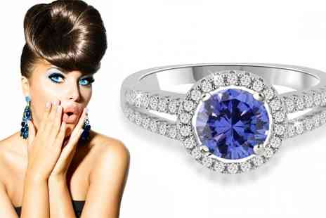 Jewellery Bank British GEM  - 1ct Halo Tanzanite Sterling Silver Ring - Save 64%