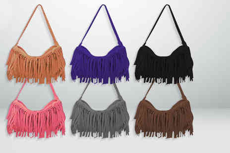 Shine Accessories  - Suede look tassel shoulder bag in a choice of Six colours - Save 60%