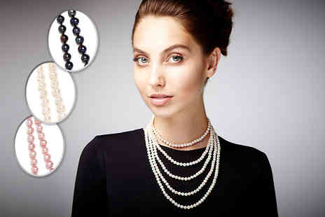 "The Gemseller -  100"" genuine freshwater pearl necklace in a choice of three colours - Save 87%"