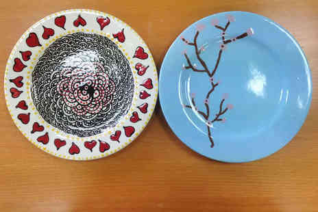 The Ceramic Experience - Ceramic Painting Session with Plate Each to Take Home and Refreshments for Two - Save 47%
