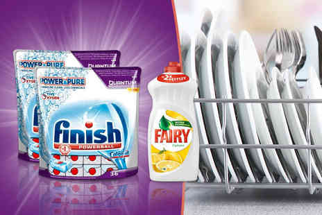 Brand Names GB - Pack of 72 Finish Quantum Powerball dishwasher tablets and a 1L  bottle of lemon Fairy Liquid - Save 58%