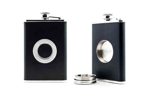 The Treasure Chest - 8oz Hip Flask with Built In Shot Glass - Save 67%