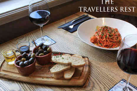 The Travellers Rest - Gastro Pub Starter, Main Course, and Glass of Wine Each for Two  - Save 0%