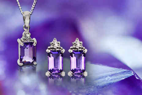 Bijou Amour - Blue topaz or amethyst pendant and earring set with diamond chip edging - Save 65%